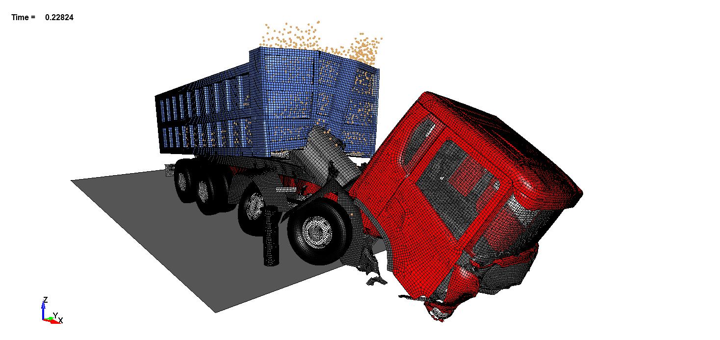 Impact of 32-ton truck on 3 bollards.