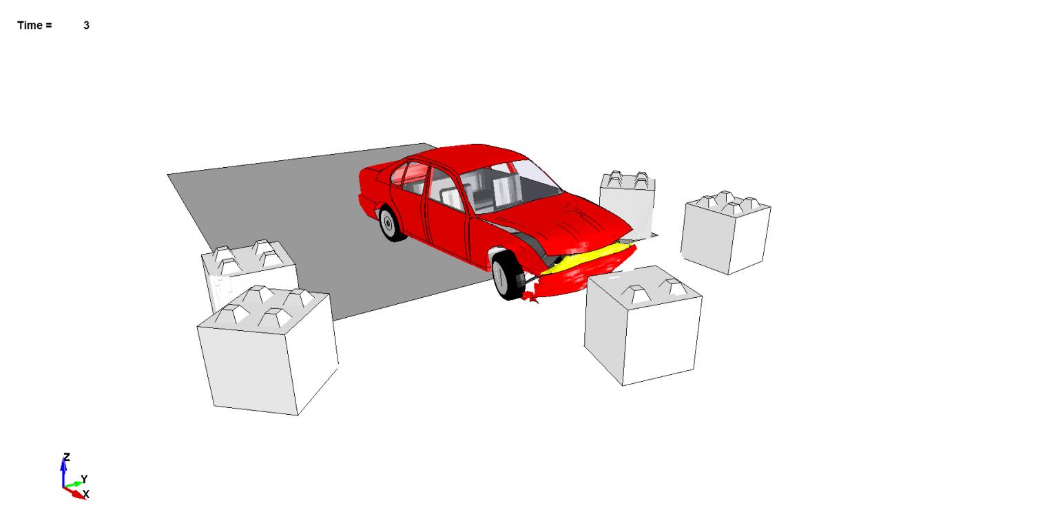 Dispositif anti-intrusion : voiture lancée sur des blocs de béton.