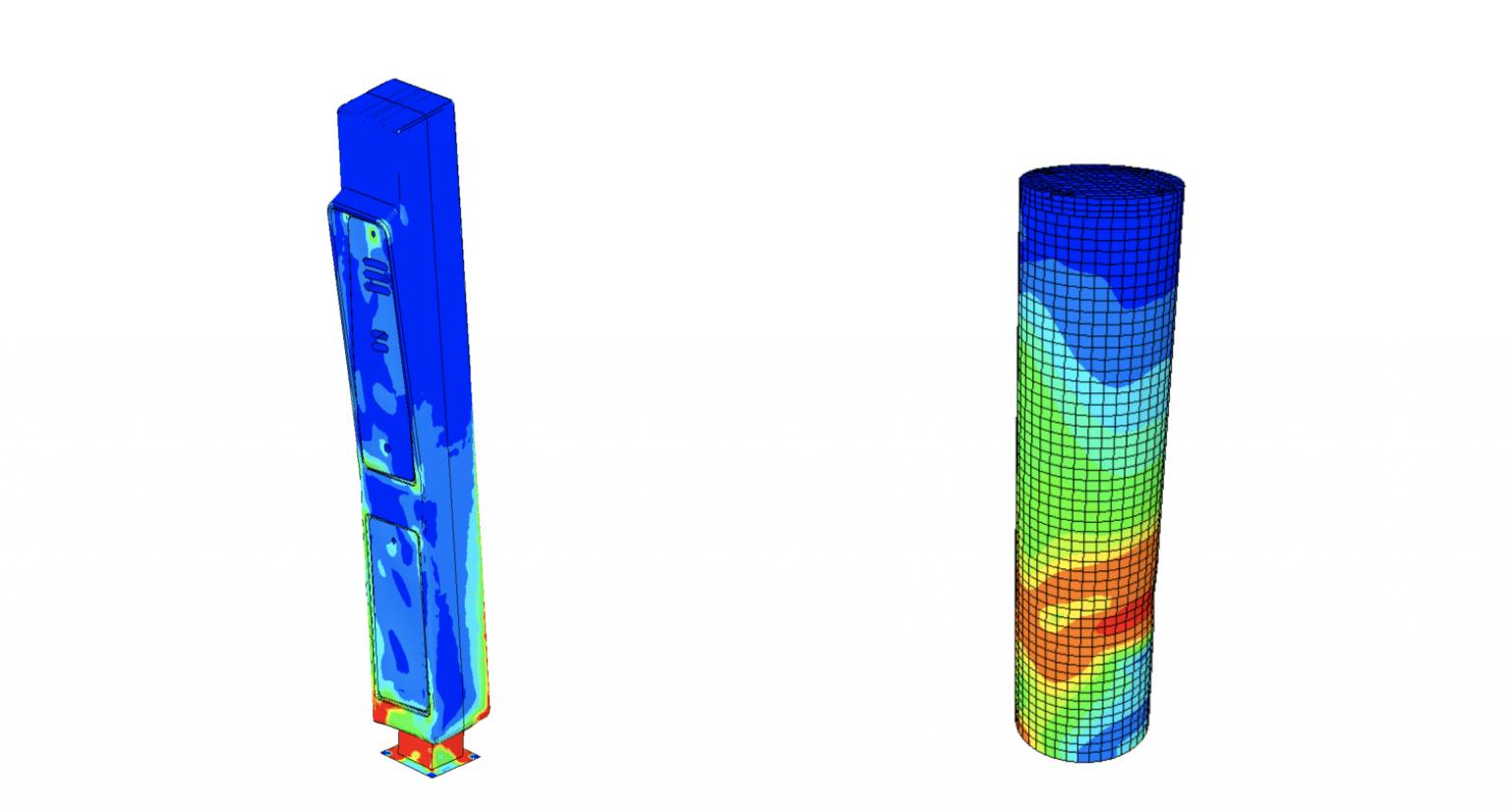 Static study: wind speed simulation with Von Mises analysis.