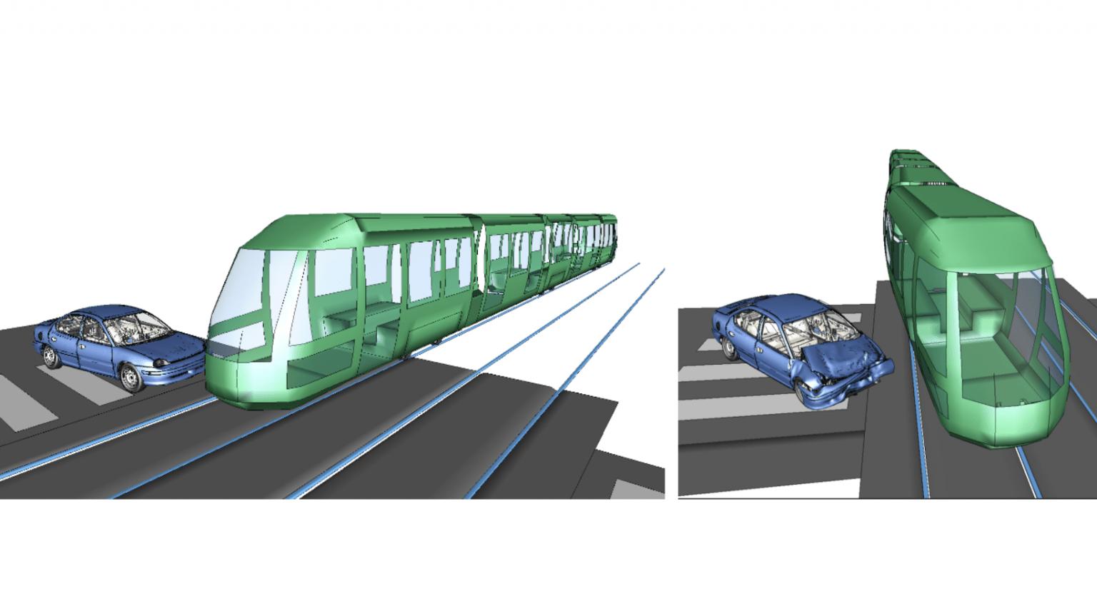 Reconstitution d'accident pour le déraillement d'un tram.