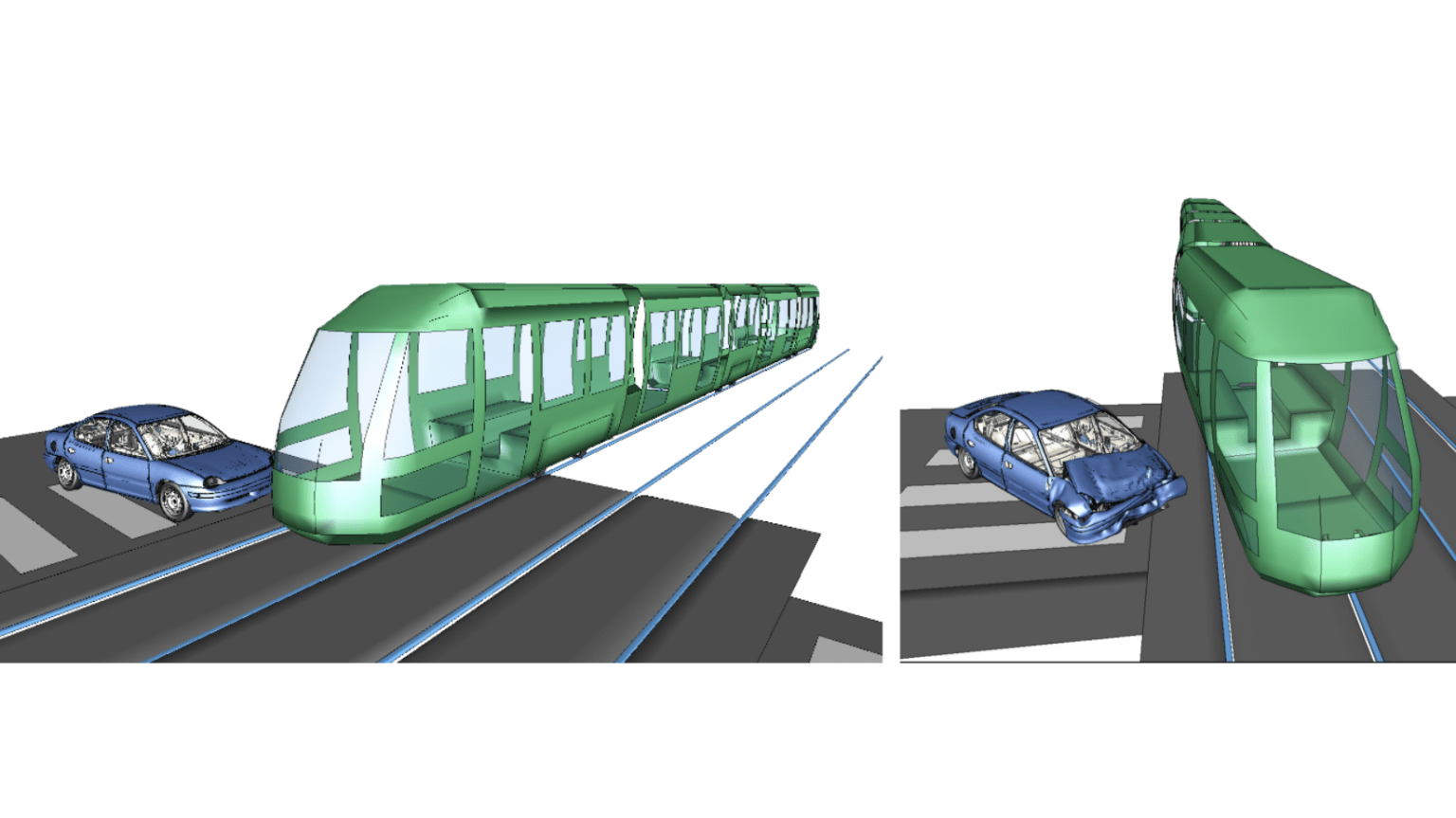 Accident reconstruction involving the derailment of a tramway.