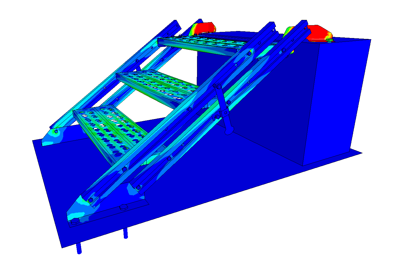 Von Mises stress on a stairs subjected to a load